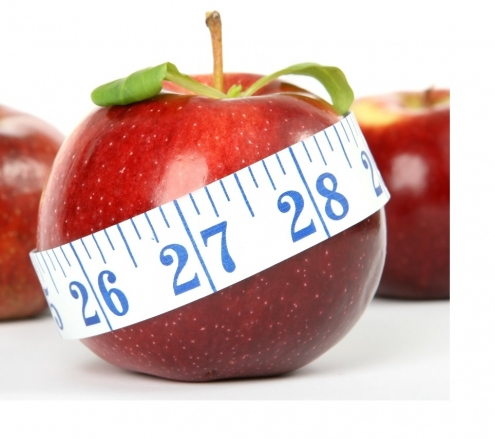 Apple and tape measure - weight management